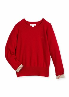 Burberry Georgey Cashmere Check-Cuff Pullover Sweater