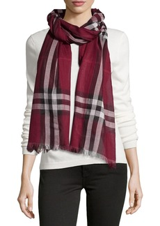 Burberry Giant-Check Wool/Silk Scarf