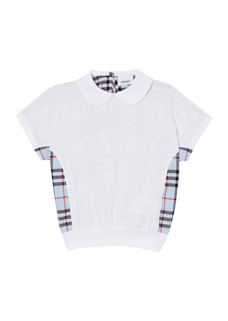 Burberry Girl's Della Check Back Short-Sleeve Jersey Top  Size 3-14