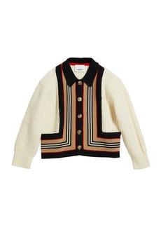Burberry Girl's Oskar Icon Stripe Cardigan  Size 3-14