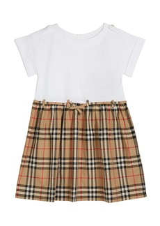 Burberry Girl's Rhonda Jersey & Check Poplin Dress  Size 3-14