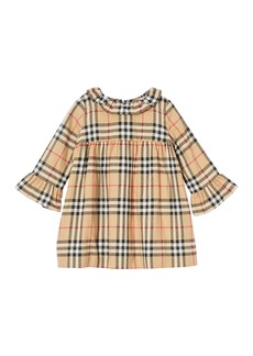 Burberry Girl's Ruffle Collar Check Dress  Size 12M-2