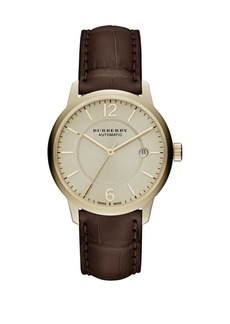 Burberry Gold & Brown Alligator Leather-Strap Watch