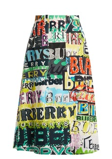 Burberry Graffiti-print high-rise cotton skirt