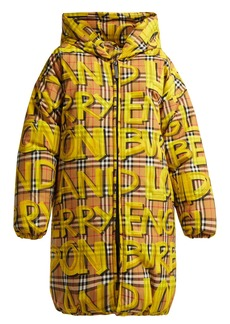 Burberry Graffiti-print oversized puffer coat