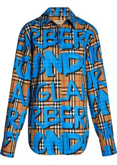 Burberry graffiti-print check shirt - Nude & Neutrals