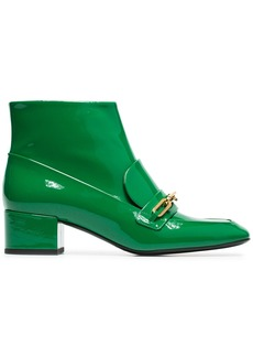 Burberry green link detail patent leather boots