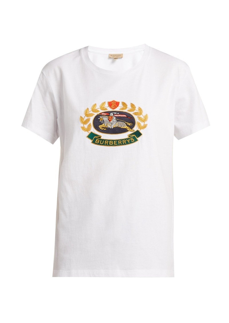ced390282 Burberry Burberry Gully crest and logo-embroidered cotton T-shirt ...
