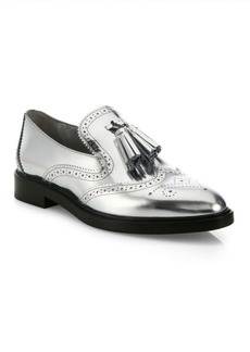 Burberry Halsmoor Metallic Leather Tassel Loafers