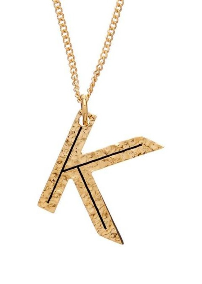 Burberry Hammered K-charm gold-plated necklace