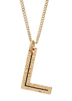 Burberry Hammered L-charm gold-plated necklace