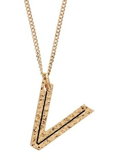 Burberry Hammered V-charm gold-plated necklace