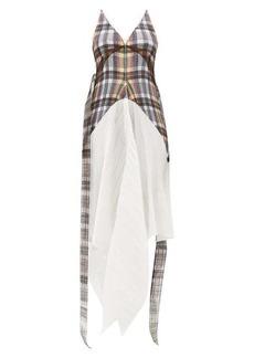 Burberry Handkerchief-hem check plissé dress