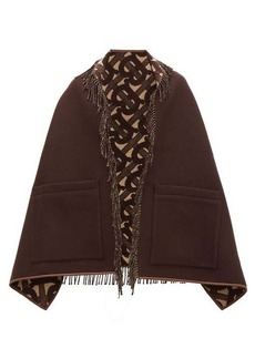 Burberry Helene leather-trimmed merino wool-blend scarf