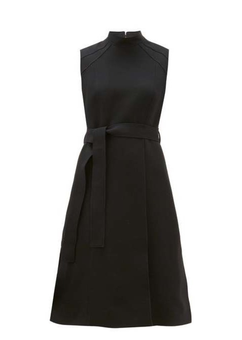 Burberry High-neck belted wool-blend dress