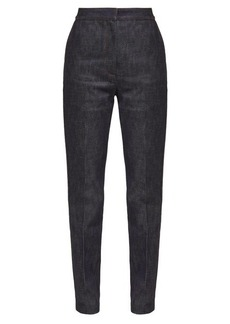 Burberry High-rise appliqué leather-monogram jeans