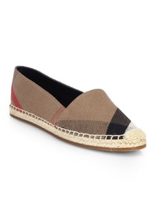 Burberry Hodgeson Check Canvas Espadrille Flats