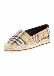 Burberry Hodgeson Vintage Check Espadrille Slip-On Flat
