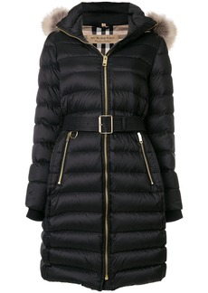Burberry detachable fur-trim down filled puffer coat with hood - Black