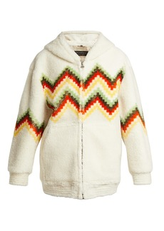 Burberry Hooded zigzag shearling jacket