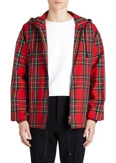 Burberry Hooded Zip-Front Tartan Check Wind-Block Jacket
