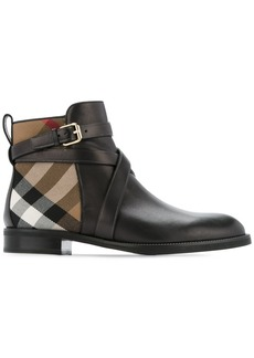 Burberry Strap Detail House Check and Leather Ankle Boots