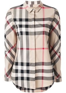 Burberry Stretch-Cotton Check Shirt - Nude & Neutrals