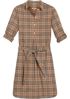 Burberry Check Cotton Tunic Dress - Brown