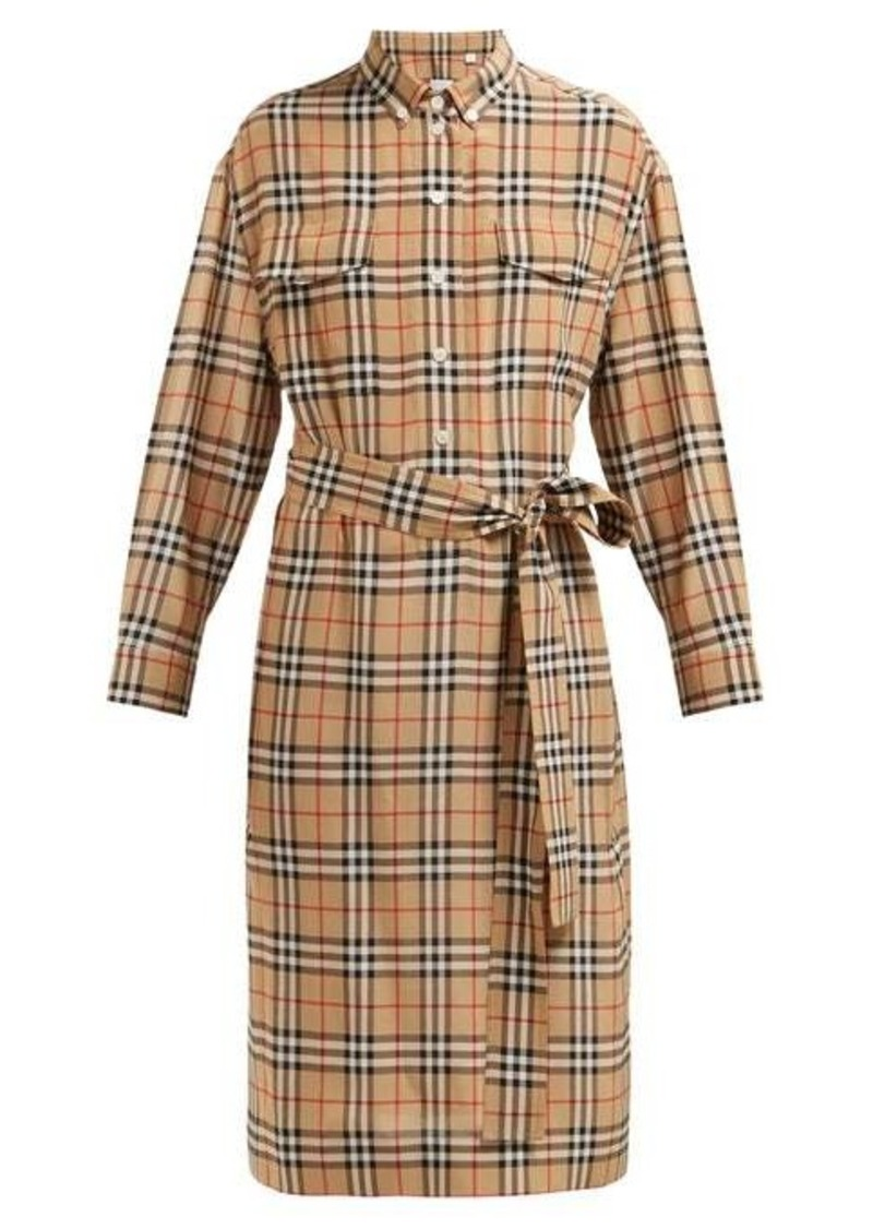 Burberry House-check silk shirtdress