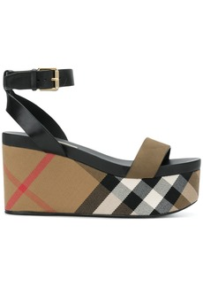 Burberry House Check wedge sandals - Green
