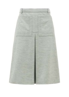 Burberry Inverted box-pleat wool-blend jersey skirt
