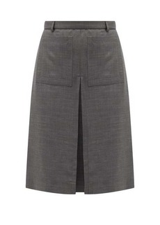 Burberry Inverted box-pleat wool-blend skirt