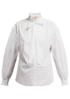 Burberry Jacobin ruffle-neck cotton blouse