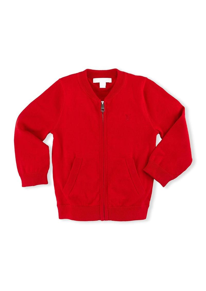 Burberry Jaxson Zip-Front Cotton Cardigan  Red  Size 6M-3