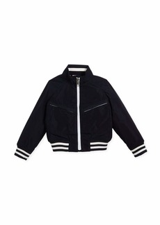 Burberry Jez Striped-Trim Bomber Jacket