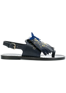 Burberry Kiltie Fringe Leather sandals - Blue