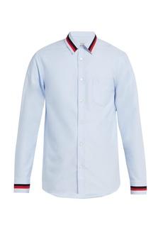 Burberry Knit-trim cotton shirt