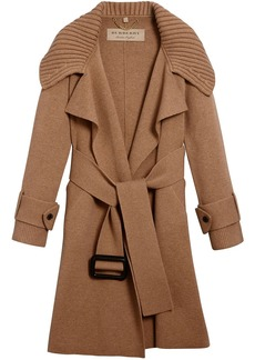 Burberry Knitted Wool Cashmere Wrap Coat