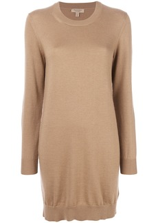 Burberry Check Elbow Detail Merino Wool Sweater Dress - Nude &