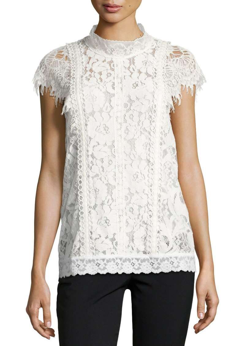 Burberry Lace Cap-Sleeve Top