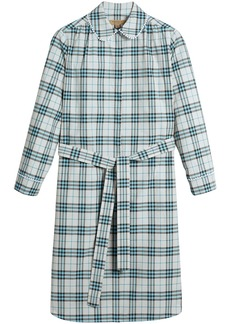 Burberry lace trim collar check cotton shirt dress - Blue
