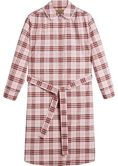 Burberry lace trim collar check cotton shirt dress - Pink & Purple