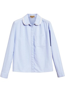 Burberry lace trim collar shirt - Blue