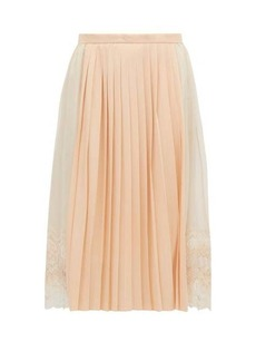 Burberry Lace-trimmed chiffon and pleated-satin midi skirt