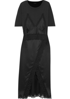 Burberry Lace-trimmed silk-satin and cotton-jersey midi dress