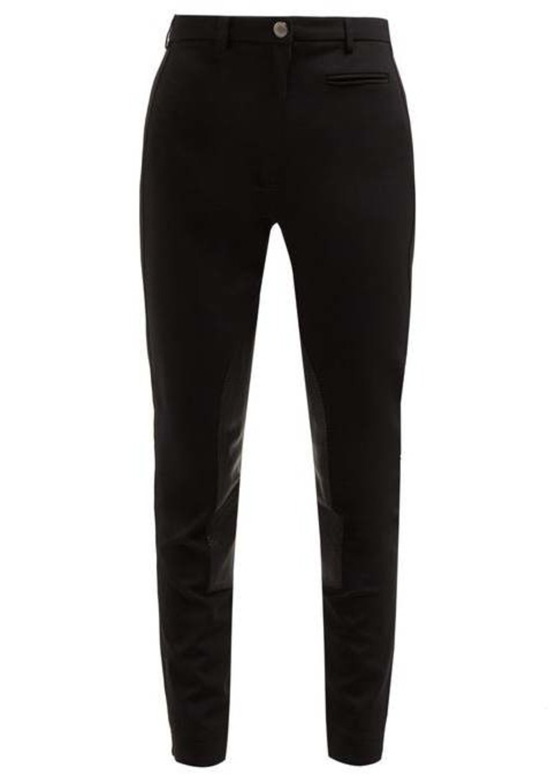 Burberry Lambskin panel stretch-crepe trousers
