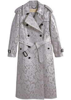 Burberry Laminated Lace Trench Coat - Grey