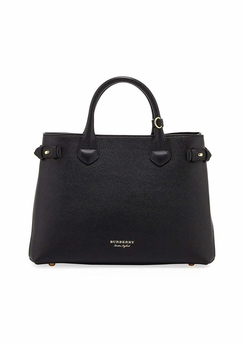 4459d30d7b11 Burberry Leather   Check Canvas Tote Bag Black