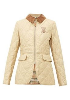 Burberry Leather-monogram quilted riding jacket