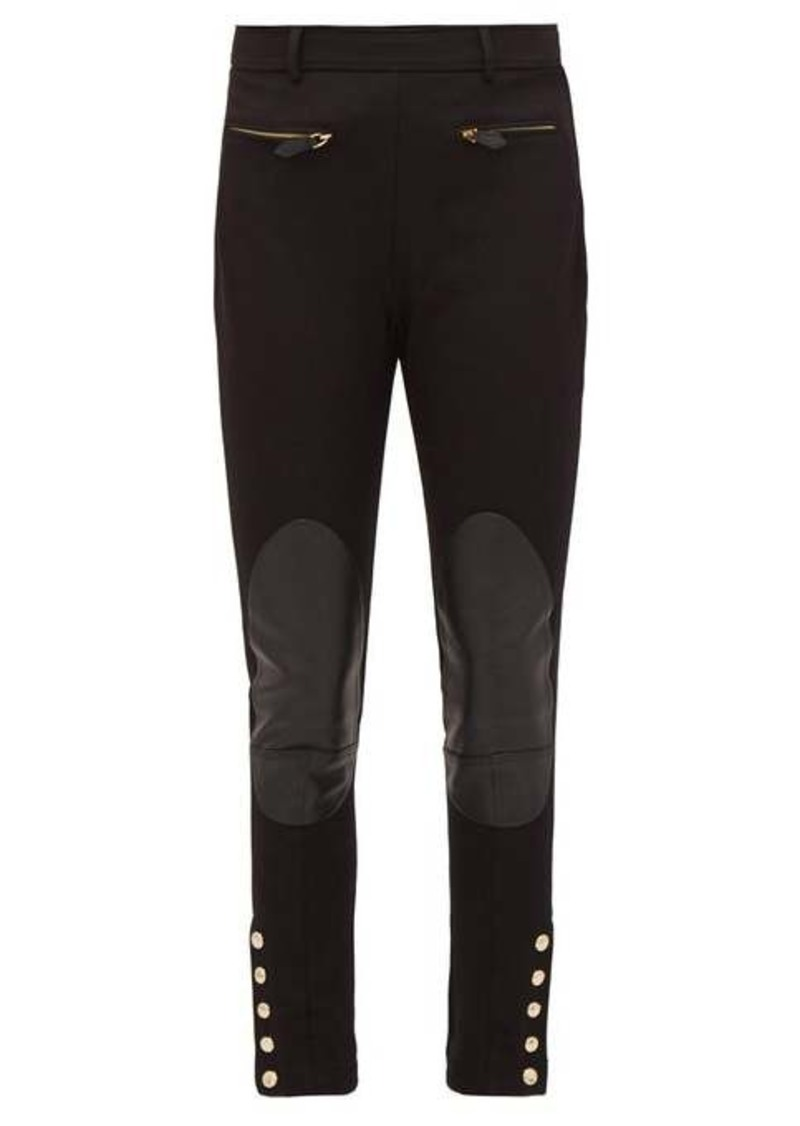 Burberry Leather-patch stretch-cotton trousers